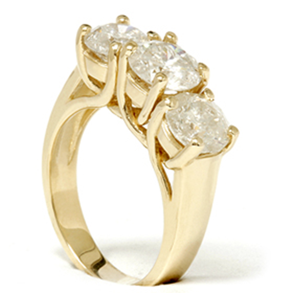3ct diamond three stone wedding anniversary ring 14k. Black Bedroom Furniture Sets. Home Design Ideas