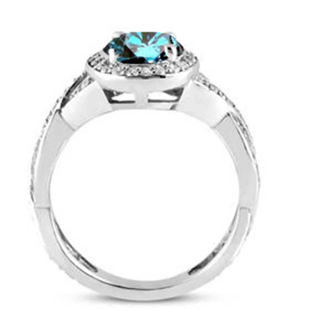3 4 ct Halo Treated Blue Halo Solitaire Diamond Engagement Ring 14K White Gol