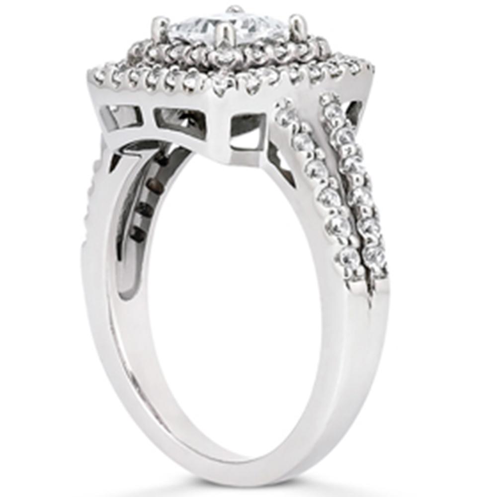 1 1 5ct princess cut double halo diamond engagement ring. Black Bedroom Furniture Sets. Home Design Ideas