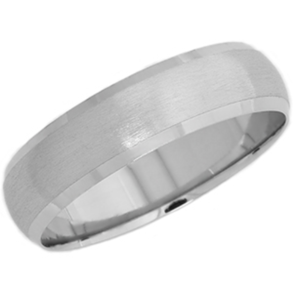 Platinum Wedding Ring: Platinum Wedding Band Mens Brushed Beveled Ring