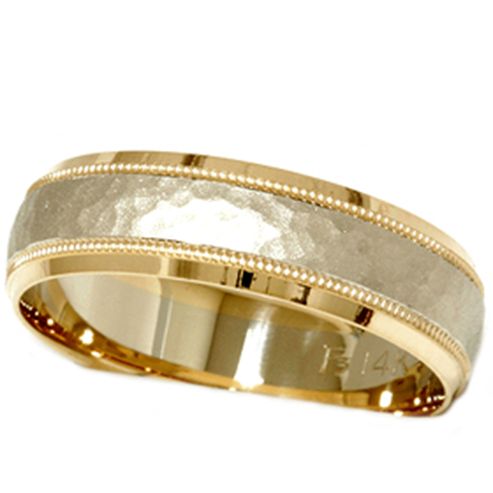 mens hammered two tone 14k white yellow gold wedding