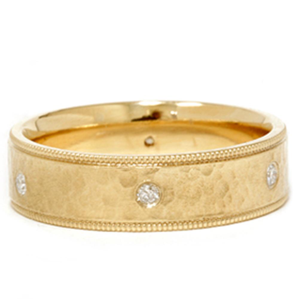 mens 14k gold diamond hammered wedding ring band new