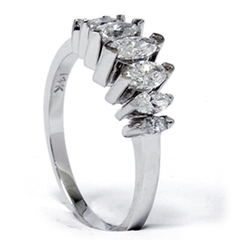 Marquise Ring Bands: 14K White Gold 3/4ct Marquise Diamond Anniversary Ring
