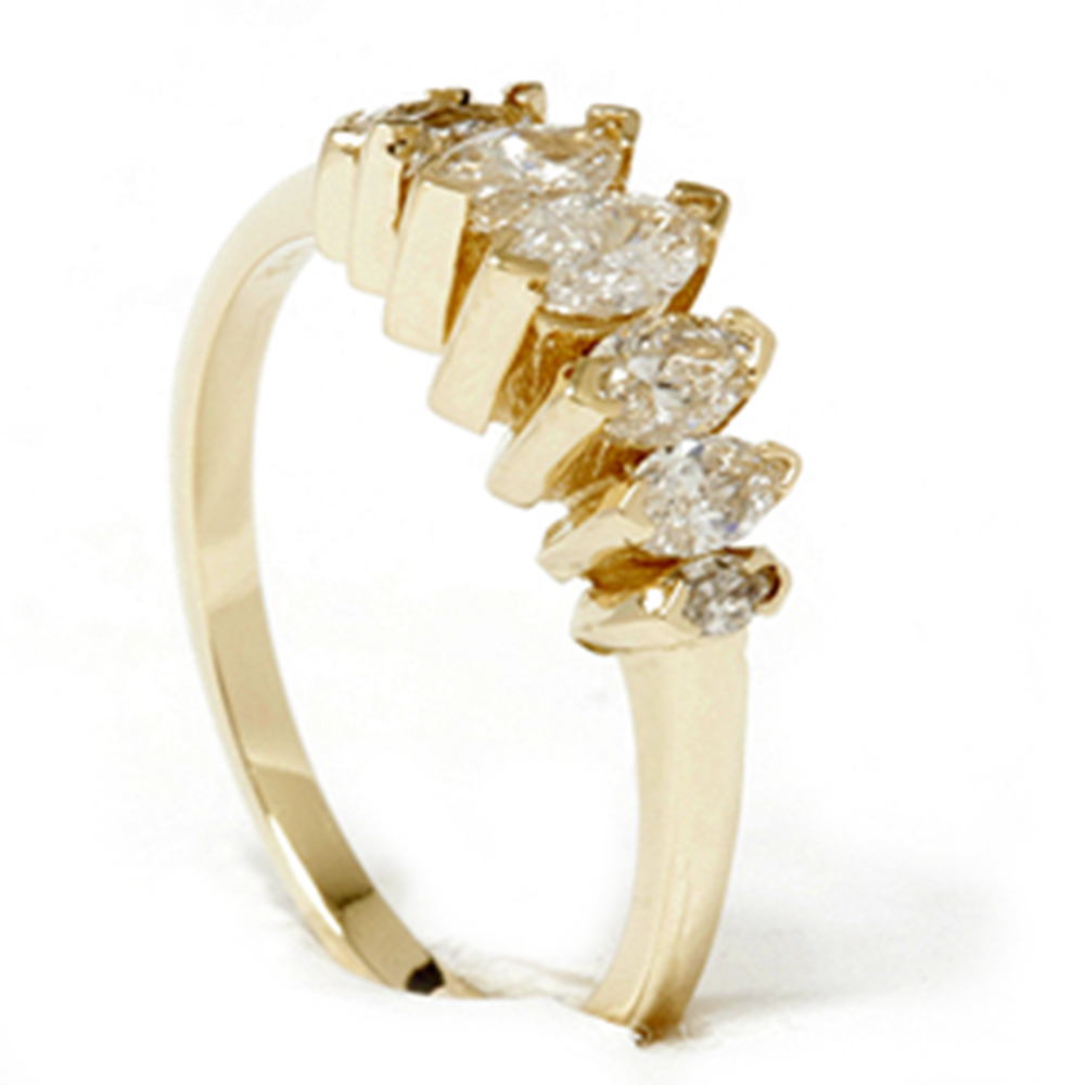 Marquise Ring Bands: 14k Yellow Gold 3/4ct Marquise Diamond Wedding Anniversary