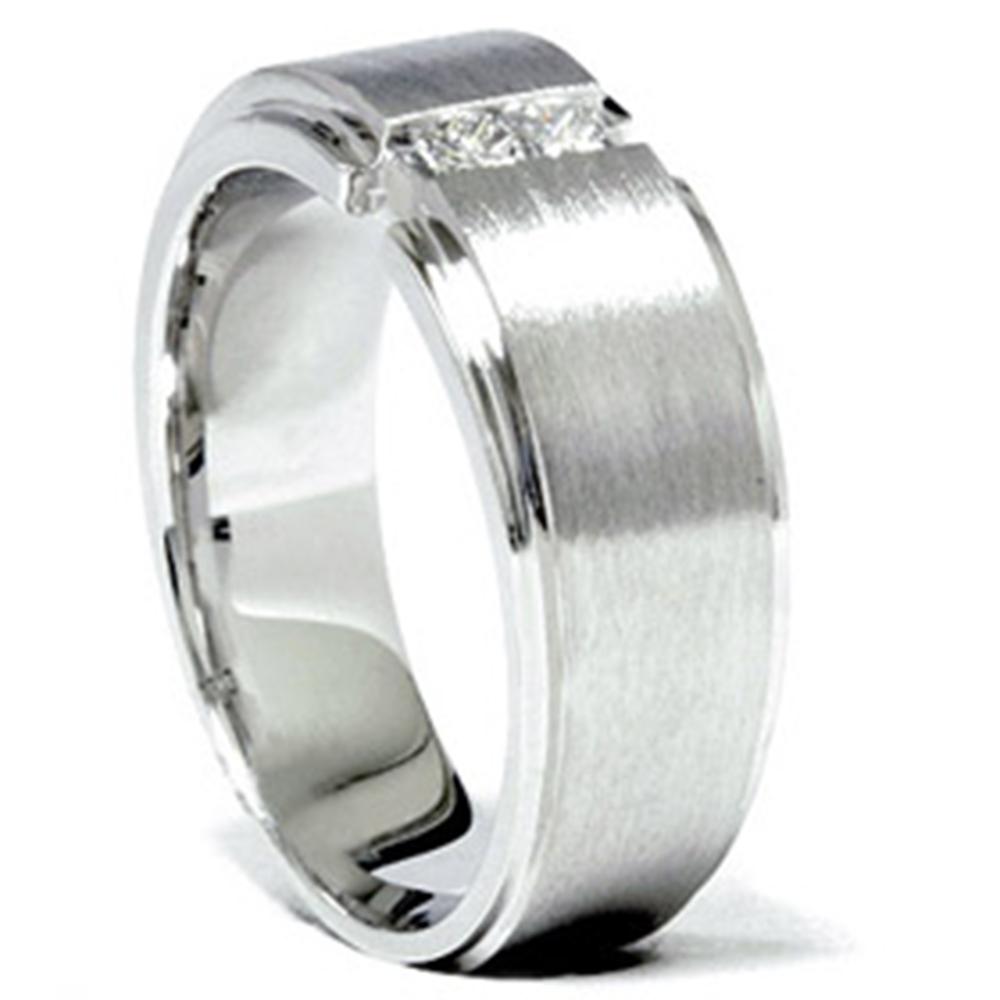 Mens 14K White Gold Princess Cut Diamond Wedding Ring