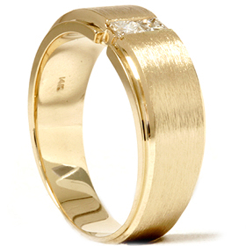 Mens gold princess cut diamond brushed wedding ring ebay for Diamond mens wedding bands
