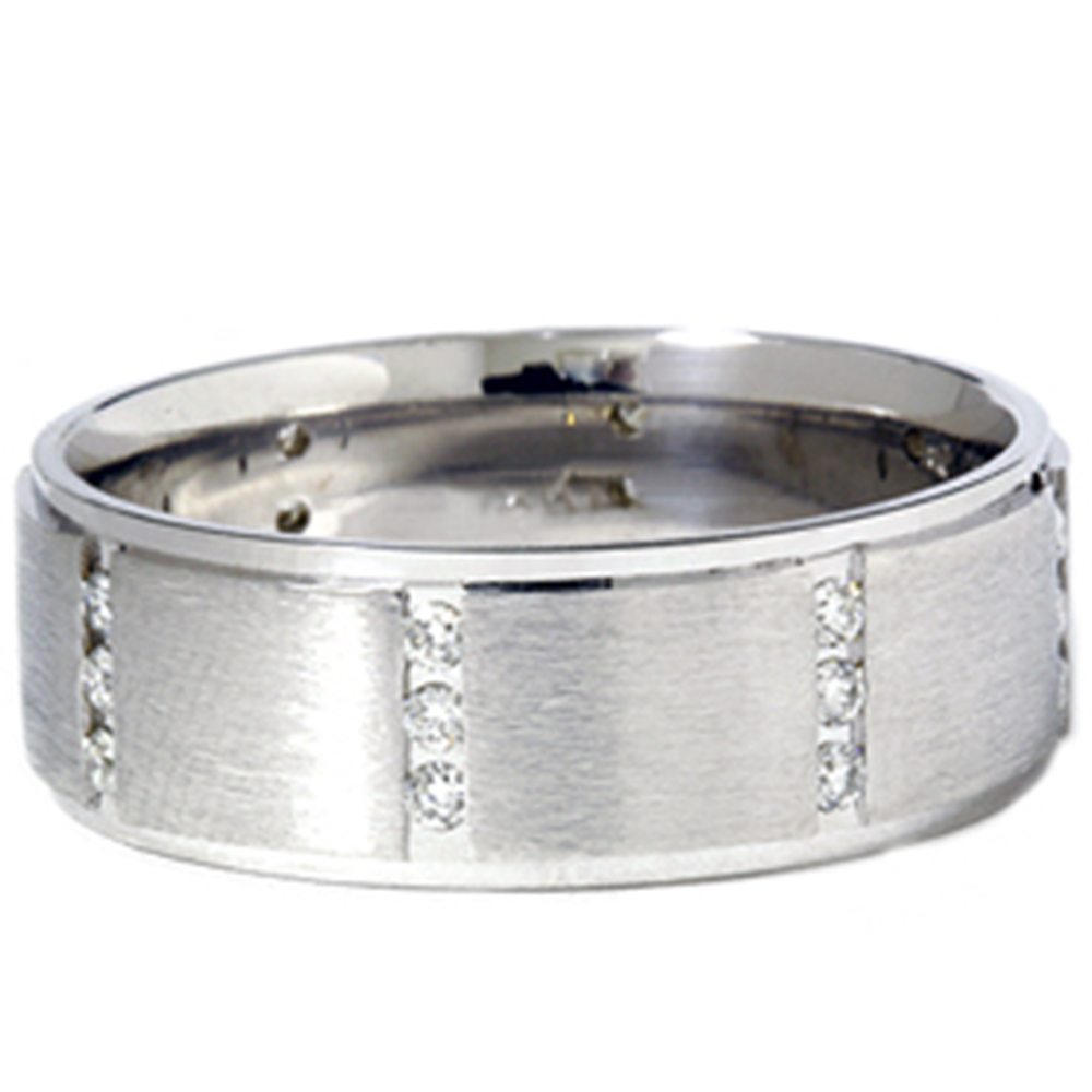 3 8ct mens 14k white gold diamond wedding ring band ebay for White diamond wedding ring