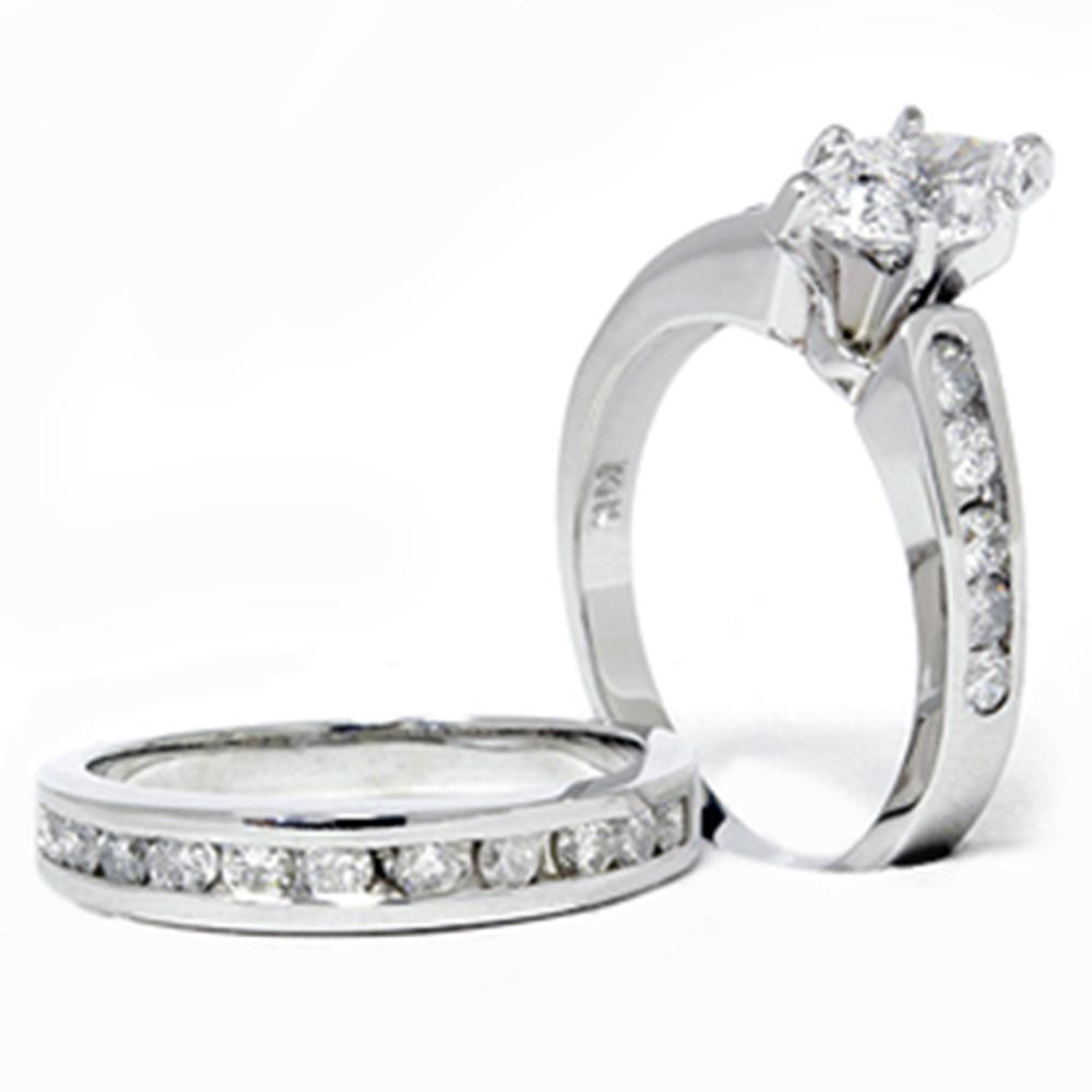 2 Carat Marquise Enhanced Diamond Engagement Wedding Ring Set White Gold 14k