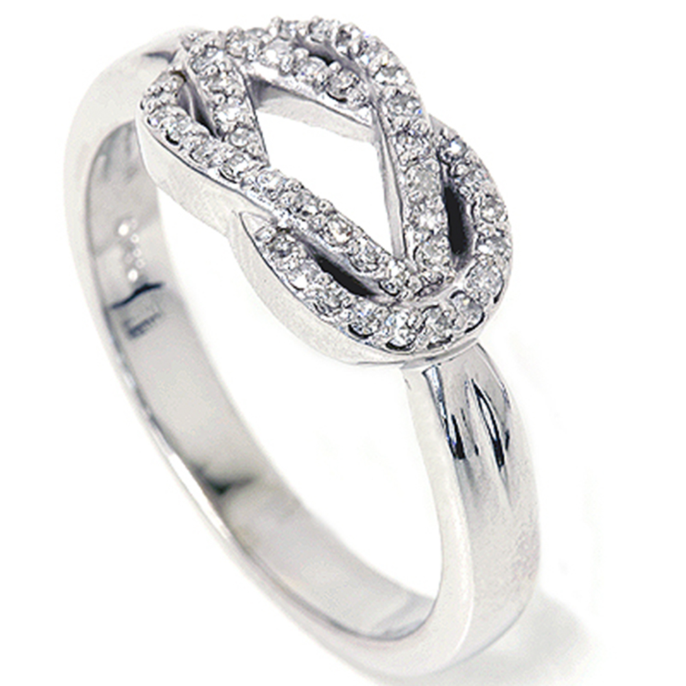 womens 1 4ct diamond knot everlong solid 14k white gold