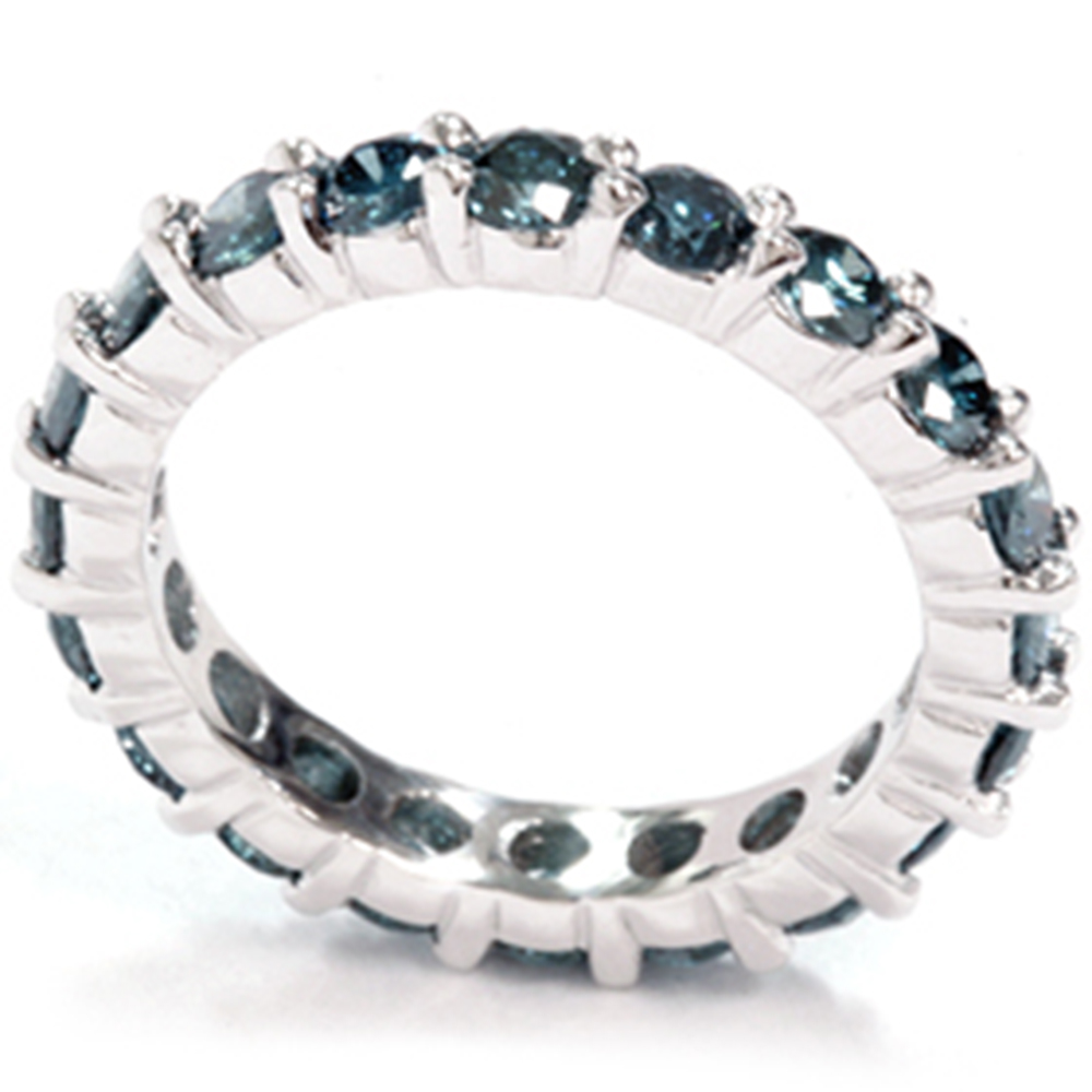 2ct treated blue diamond eternity ring 14k white gold. Black Bedroom Furniture Sets. Home Design Ideas