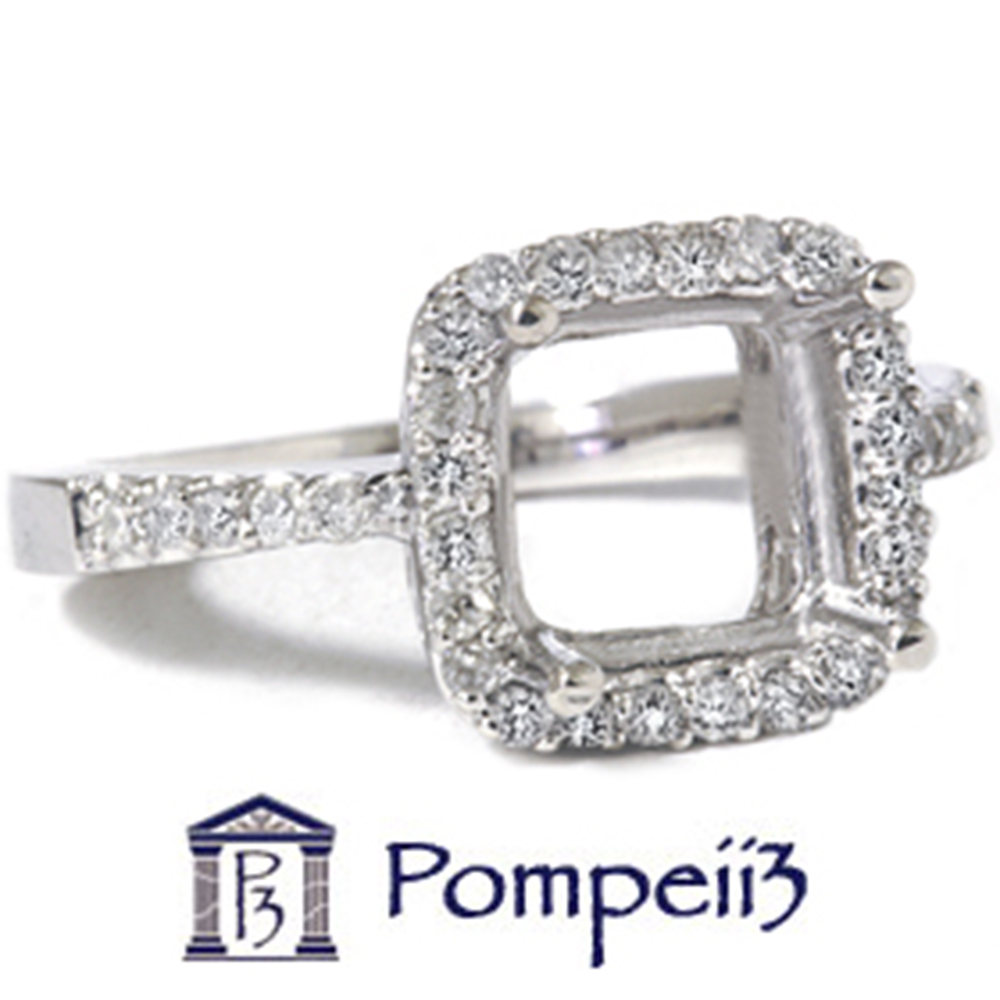 1 2ct Princess Cut Halo Diamond Engagement Ring Setting