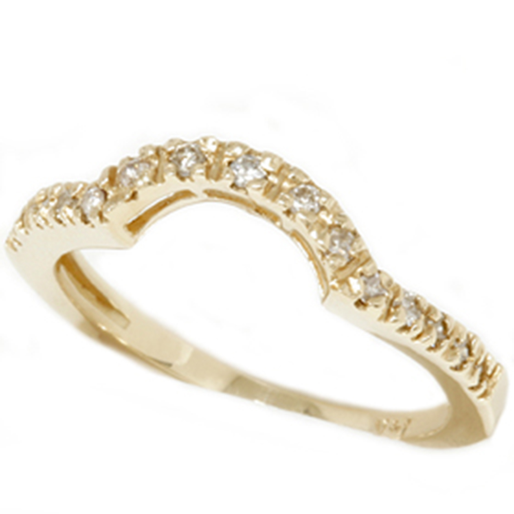 1 4 ct curved ring notched wedding band