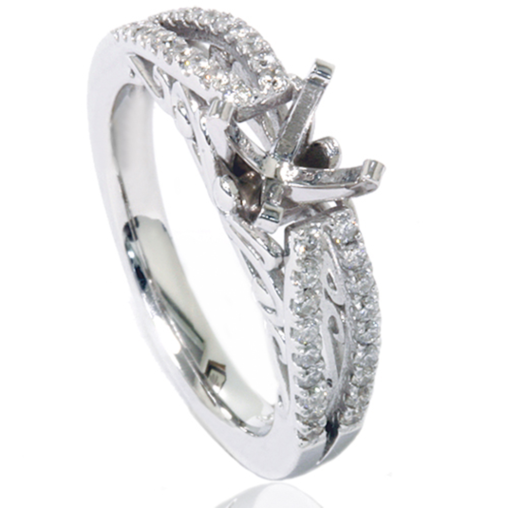 3 8ct vintage engagement ring setting 14k white