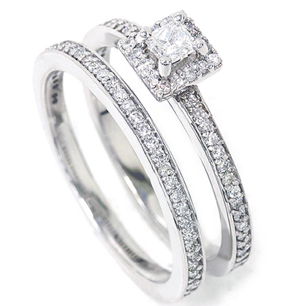 5 8ct Diamond Halo Enagament Ring Bridal Set 14K White Gold