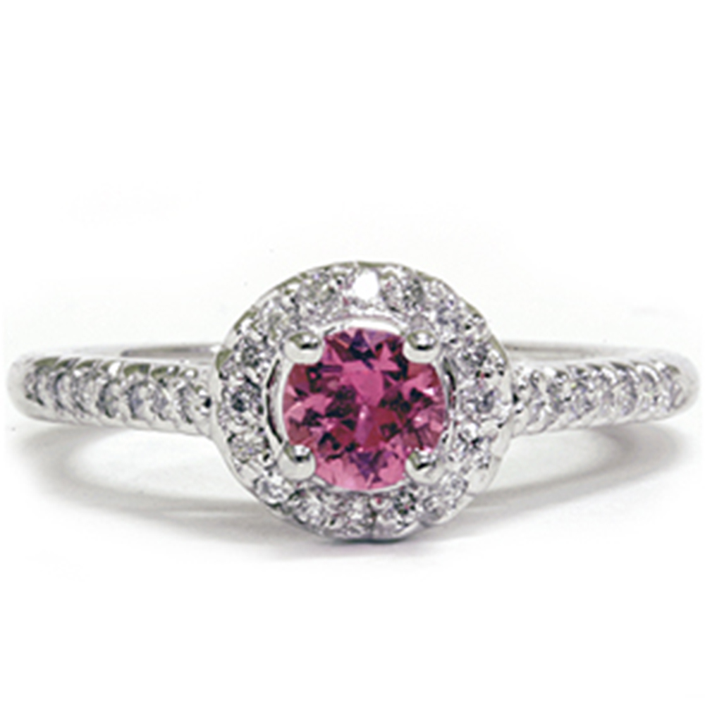 5 8ct diamond halo treated pink sapphire engagement ring. Black Bedroom Furniture Sets. Home Design Ideas