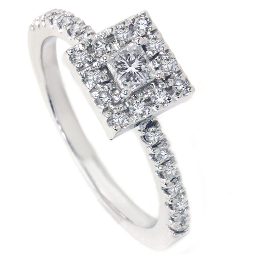 Womens 1 2ct Princess Cut Diamond Engagement Ring 14K White Gold