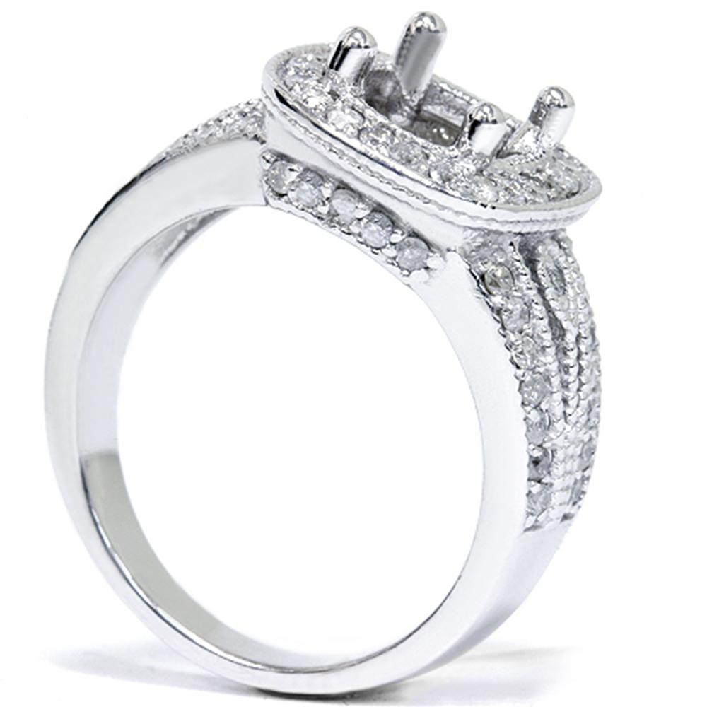 Women S 3 4ct Cushion Halo Diamond Ring Setting 14k White
