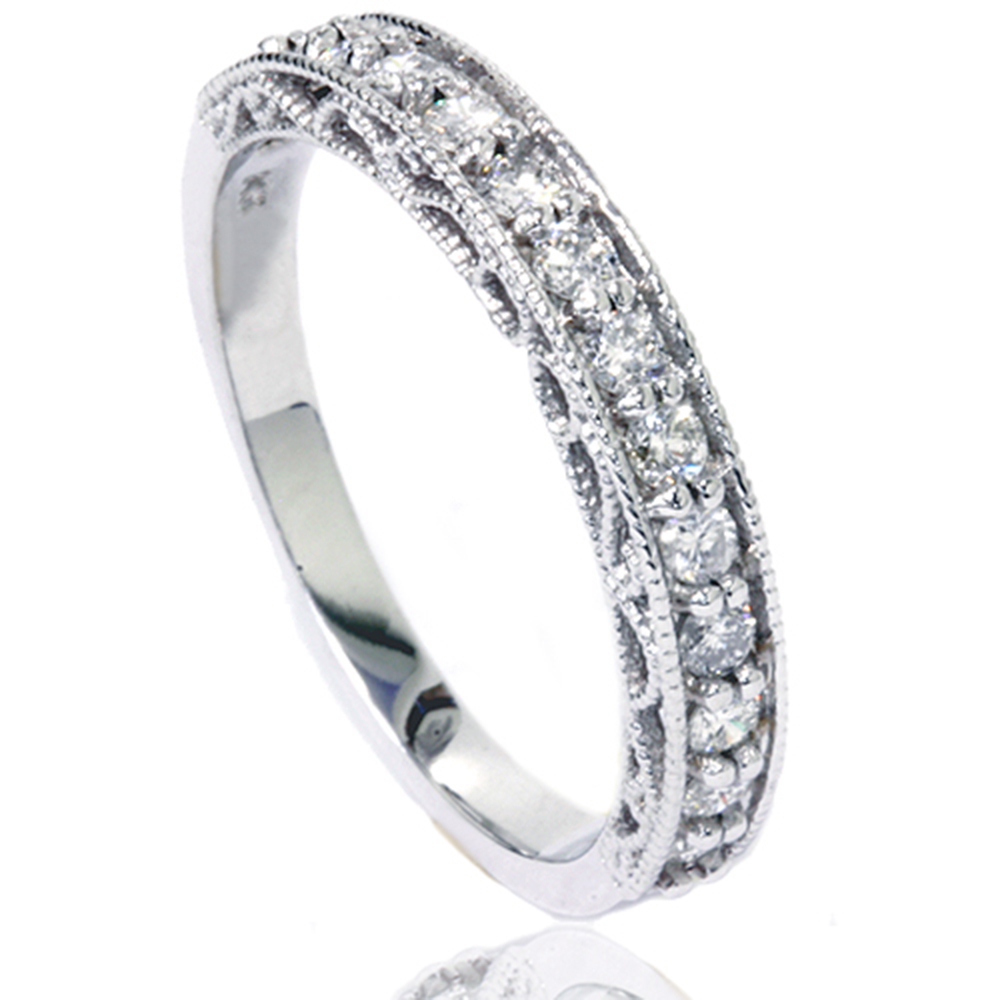 1 2ct Vintage Diamond Wedding Ring 14K White Gold