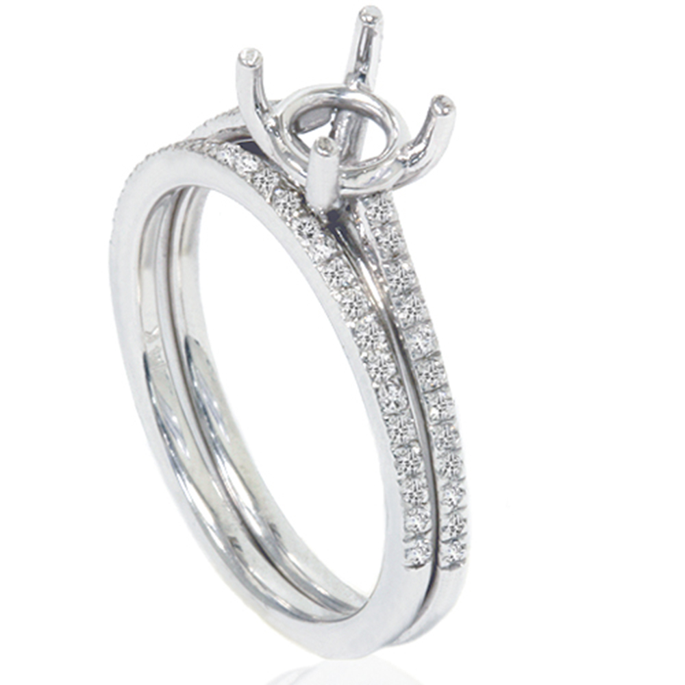 1 5ct Pave Cathedral Diamond Engagement Brialal Ring Set Setting 14K White Gold