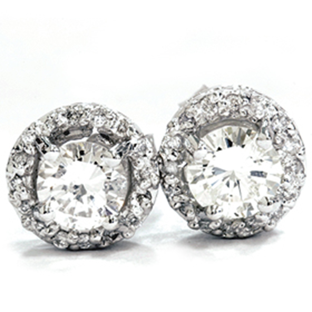 3 4ct round pave halo real diamond studs 14k white gold. Black Bedroom Furniture Sets. Home Design Ideas