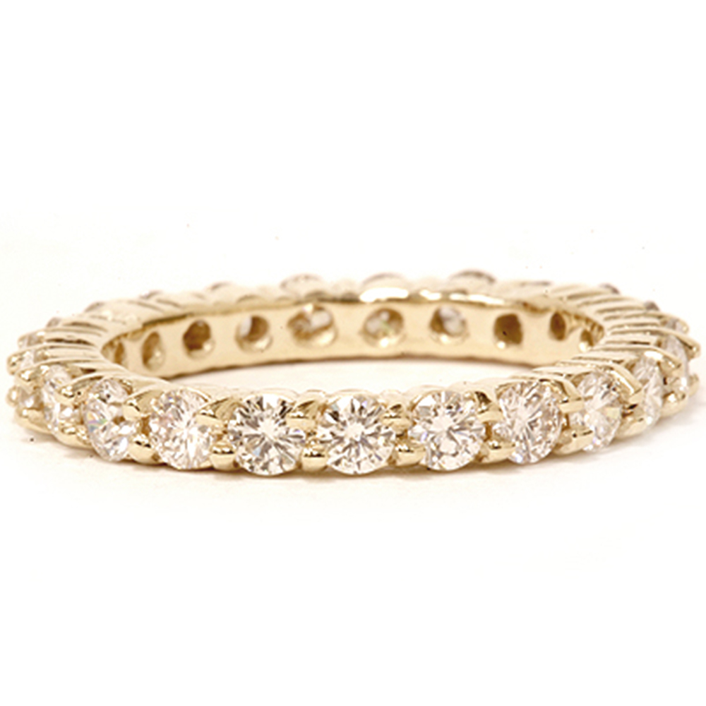 2 ct diamond eternity ring womens wedding band 14k yellow gold for Engagement wedding and eternity ring