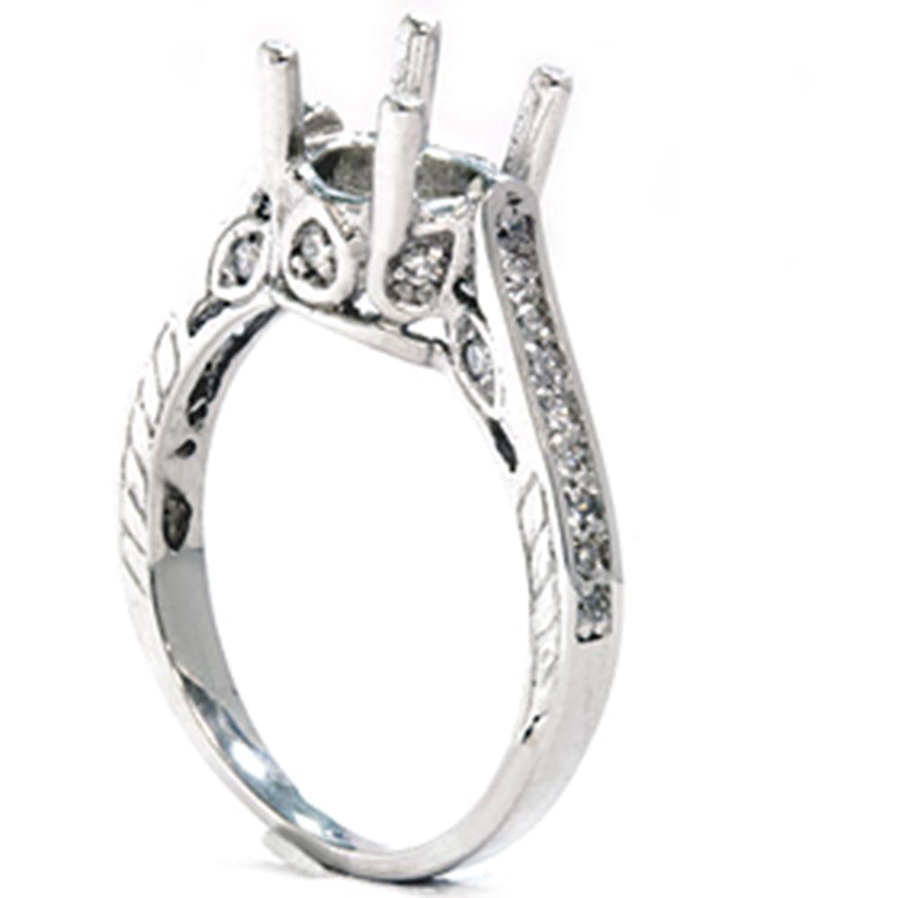 1 3ct Vintage 14K White Gold Diamond Engagement Ring Setting