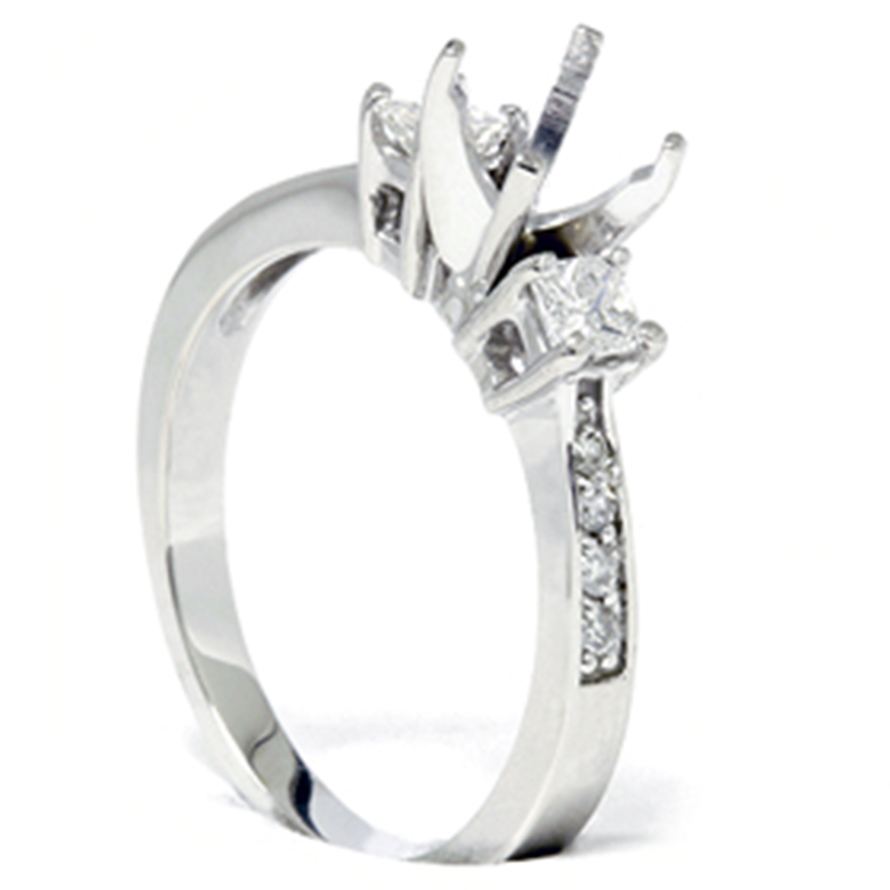 princess cut diamond engagement semi mount ring setting ebay. Black Bedroom Furniture Sets. Home Design Ideas