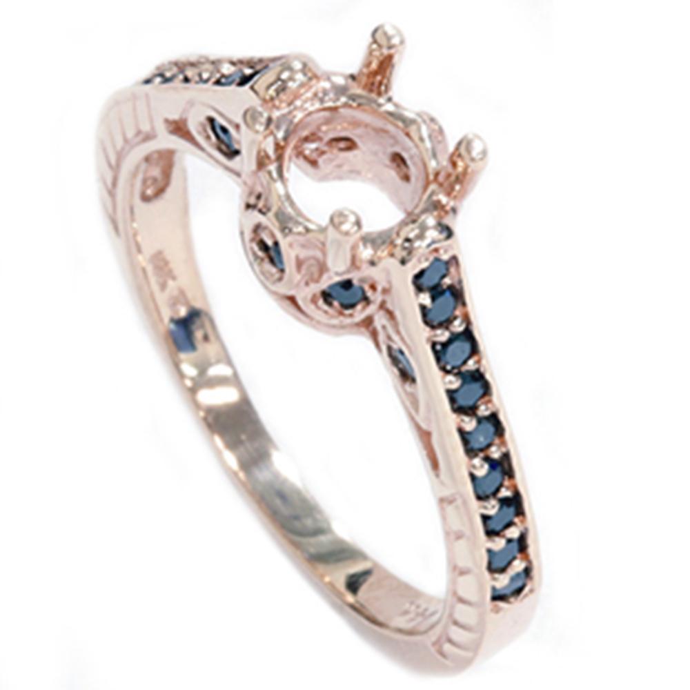 Rose Gold 1 4ct Vintage Black Diamond Ring Heirloom Setting Antique Mount AAA