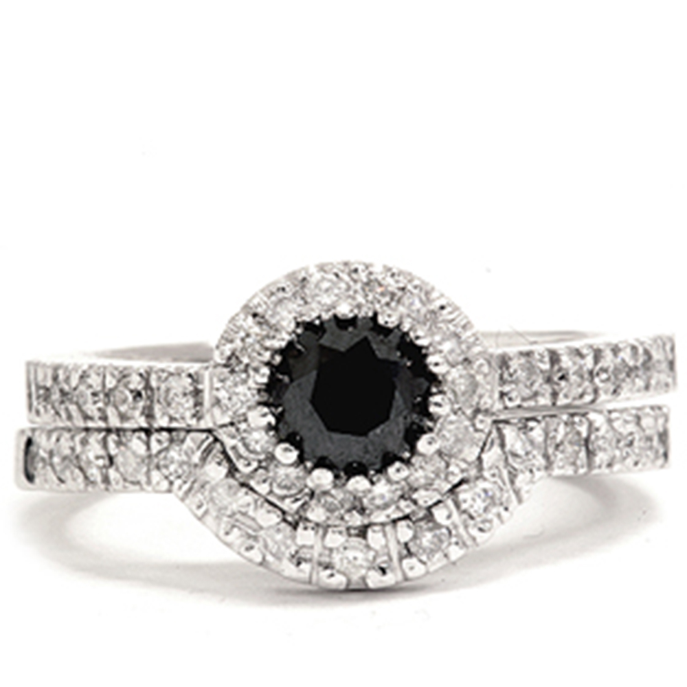 Women's 7/8ct Treated Black Pave Halo Diamond Engagement