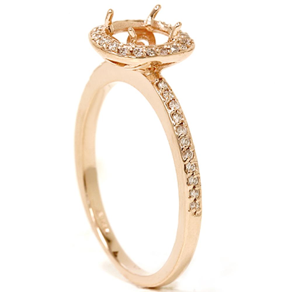 1 3ct Diamond Engagement Halo Ring 14k Rose Gold Setting