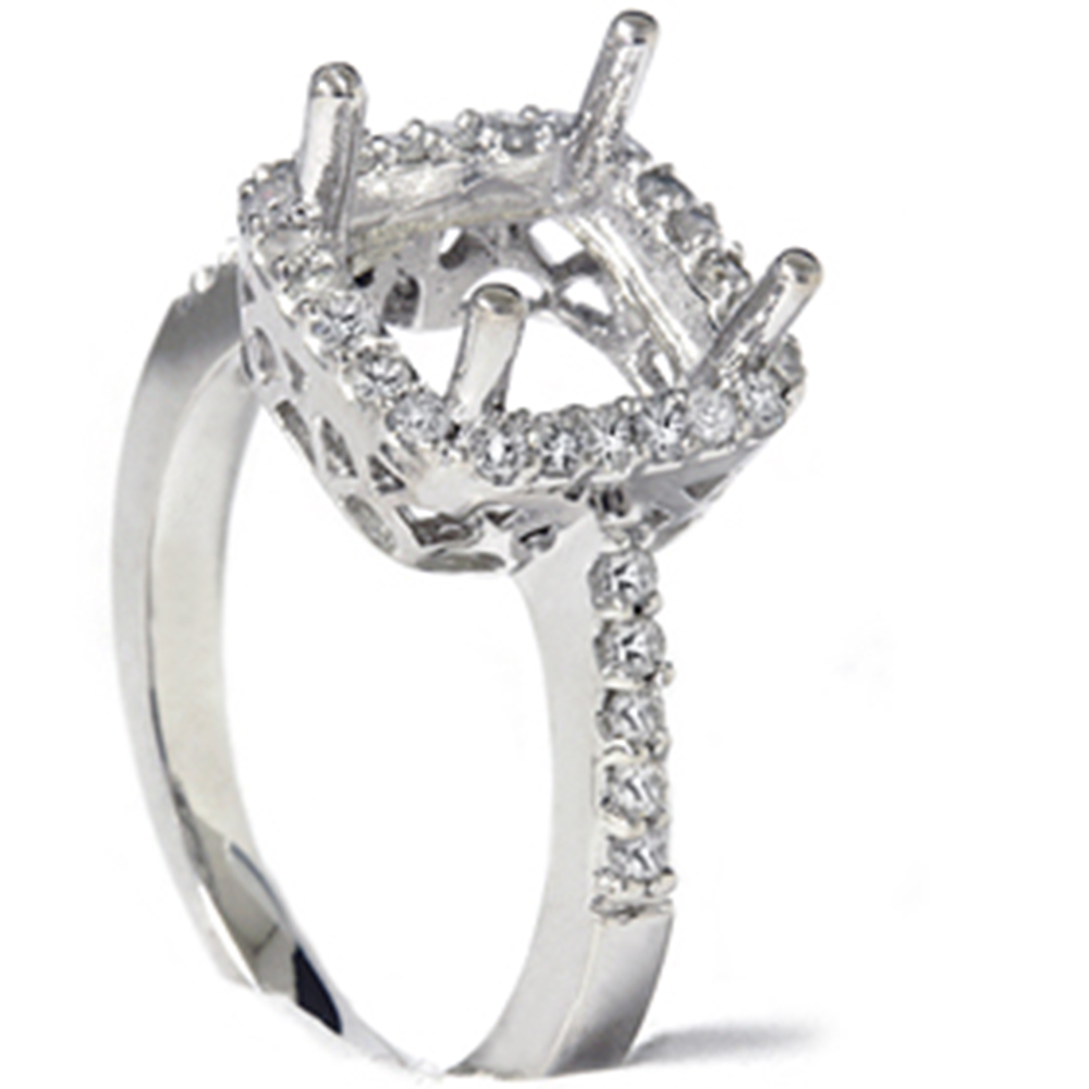 1/2ct Princess Cut Halo Diamond Engagement Ring Setting | eBay