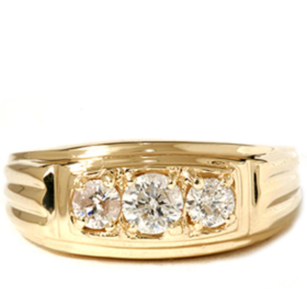 Mens 3 4CT Three Stone Diamond Wedding Anniversary Ring 14K Yellow Gold