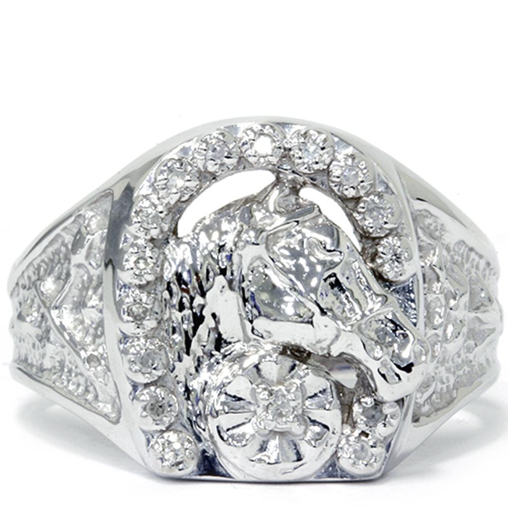 Mens Diamond Lucky Horseshoe Ring 10k White Gold Ebay