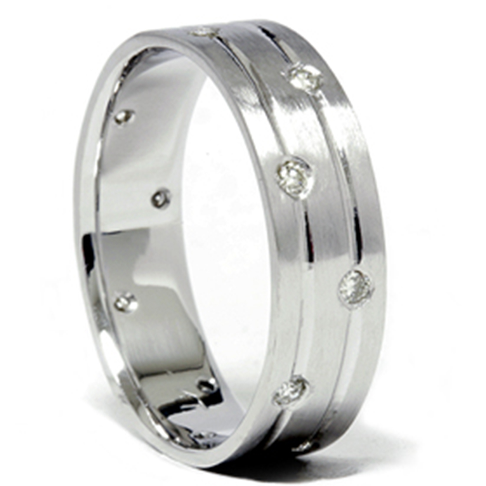 Mens white gold diamond comfort fit wedding ring band for Mens wedding rings with diamonds white gold