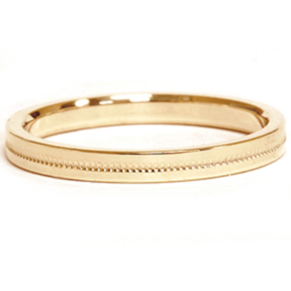 Td123886w 14k White Gold 6mm Double Milgrain Comfort Fit: 14K Yellow Gold 2mm Milgrain Wedding Comfort Ring Band
