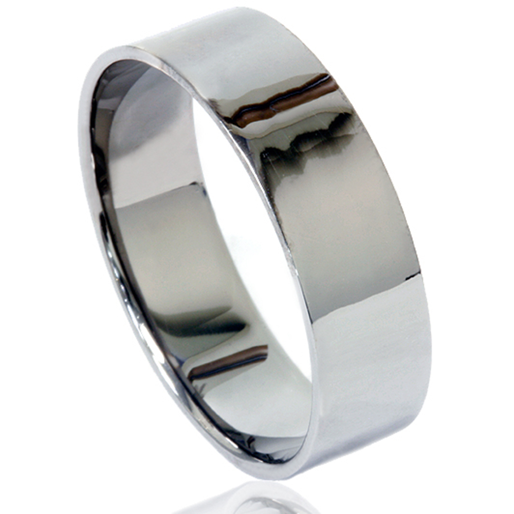 Mens Flat High Polished 6mm Black Gold Wedding Band Ring