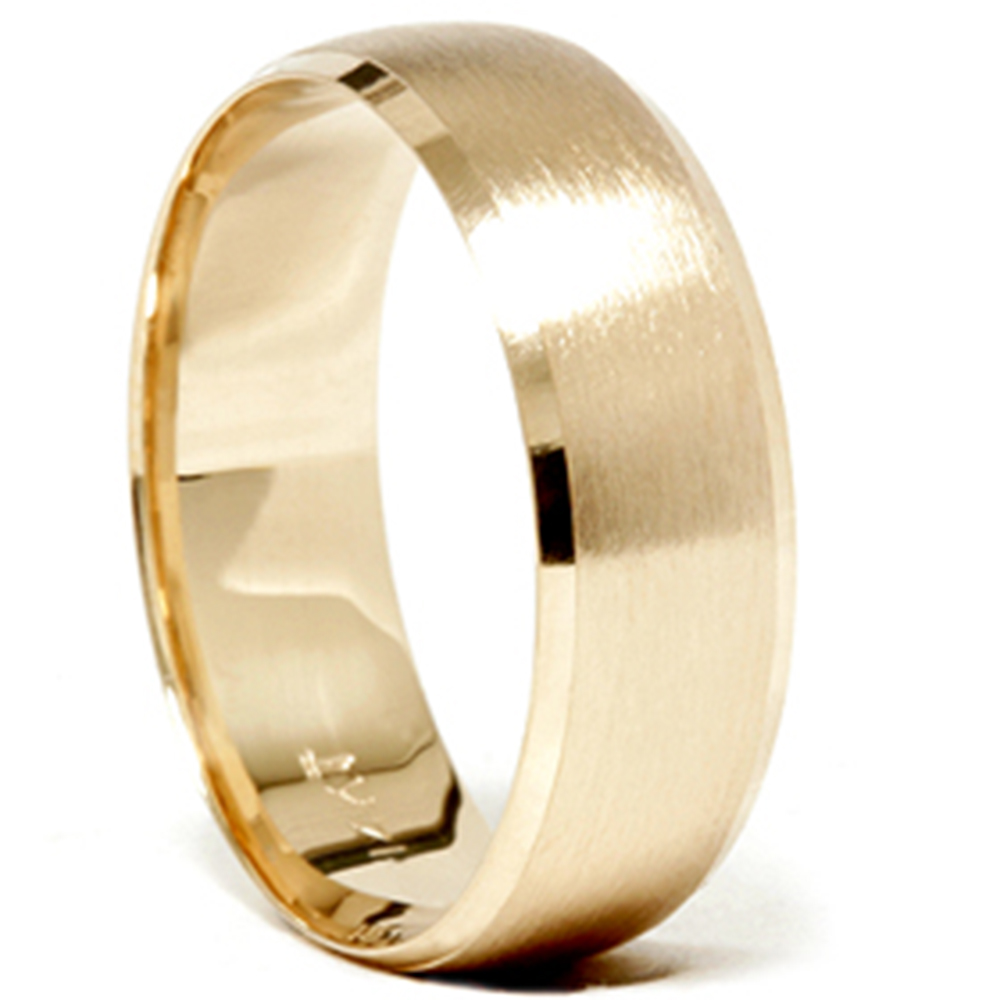Mens 14k Gold 8mm Beveled Brushed Wedding Ring Band New EBay