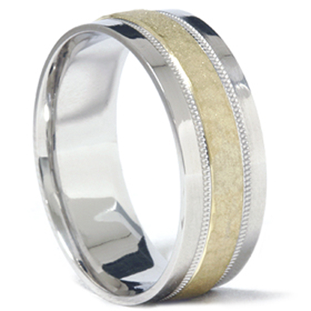 Mens 950 platinum 18k gold hammered wedding band ring for Platinum wedding rings