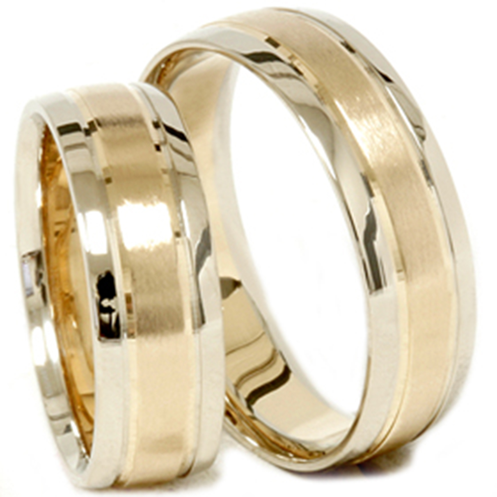 gold matching his hers two tone wedding ring band set ebay
