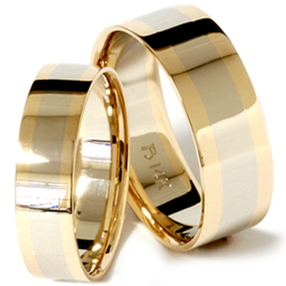 82cf88d358c58 Details about 14k White & Yellow Gold Two Tone Ring His Hers Flat Wedding  Band Matching Set