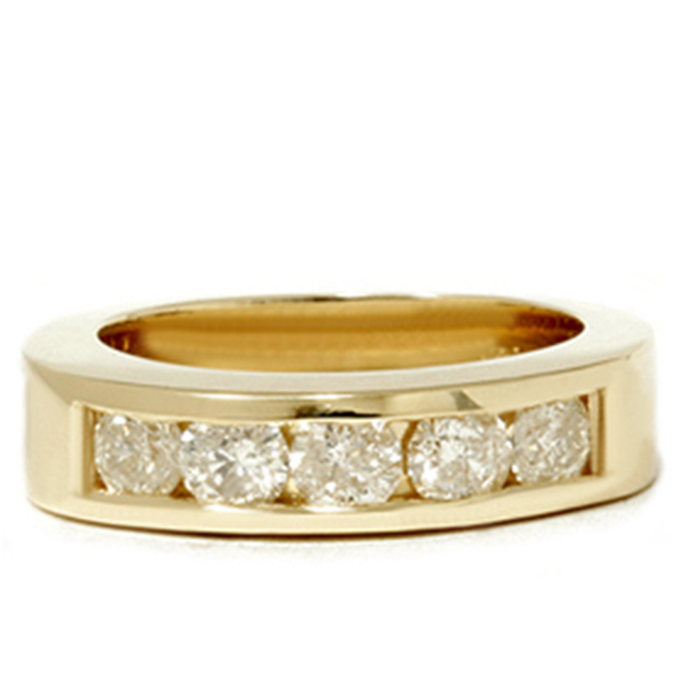 Yellow gold mens 1 1 4ct diamond wedding ring channel set for What is gold polished jewelry