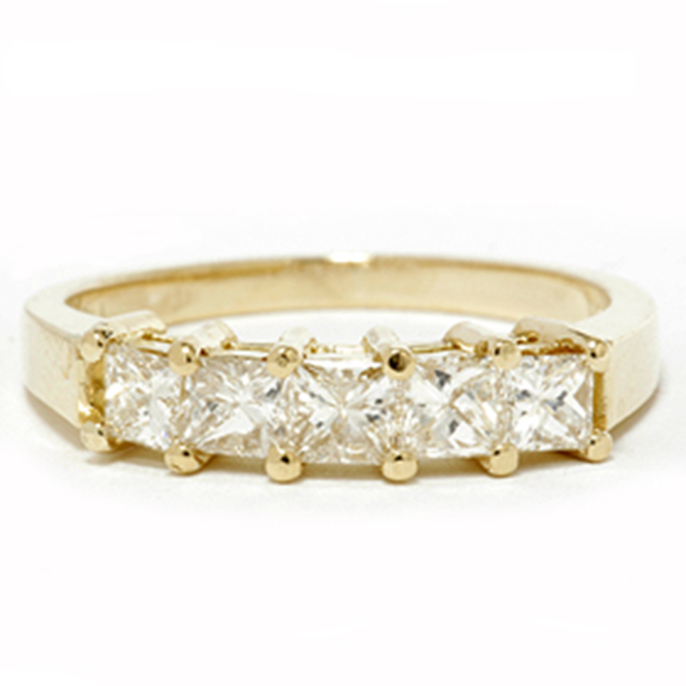 1ct princess cut diamond anniversary 14k yellow gold ring. Black Bedroom Furniture Sets. Home Design Ideas