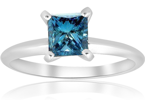 blue diamond solitaire ring