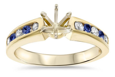 yellow gold and diamond ring setting