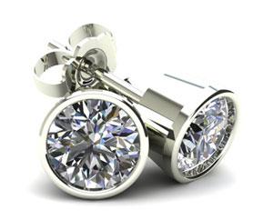 Round Bezel Set White Diamond