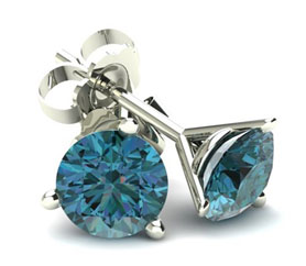 Three Prong Round Martini Blue Diamond